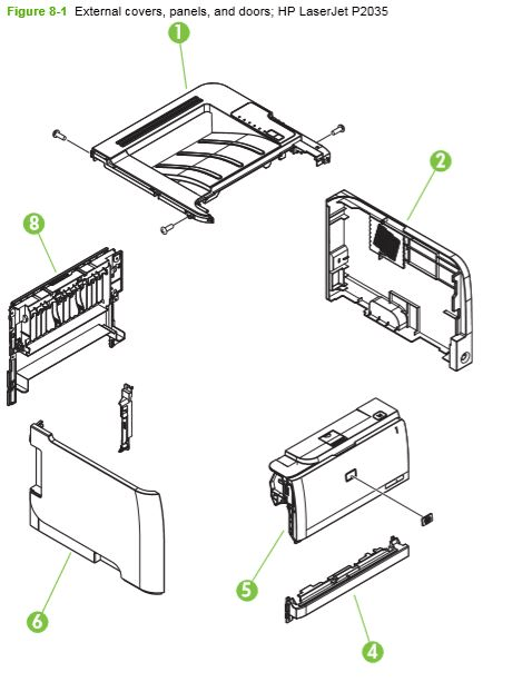 Part Diagrams- HP P2030 P2035 P2050 P2055 Fuser Laser Printer