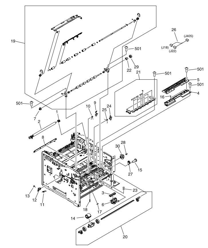 HP Laser M3027 M3035 Printer Part Diagrams CB414A CB415A