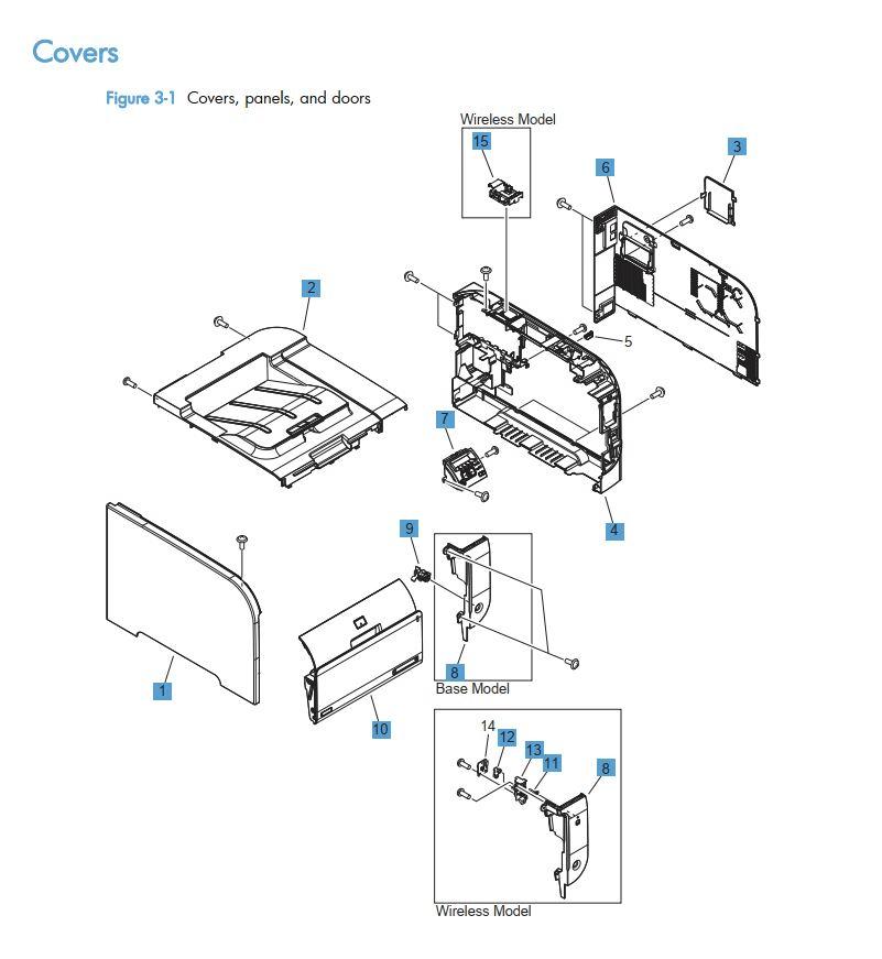 HP Color LaserJet M351 M451 Printer Part Diagrams
