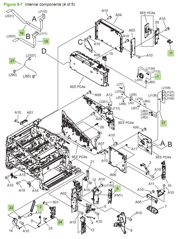 HP CM3530 Laser Printer Part Diagrams