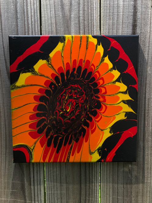 psychedelic sunflower abstract acrylic