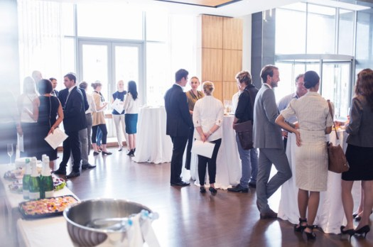 mingling at a business event