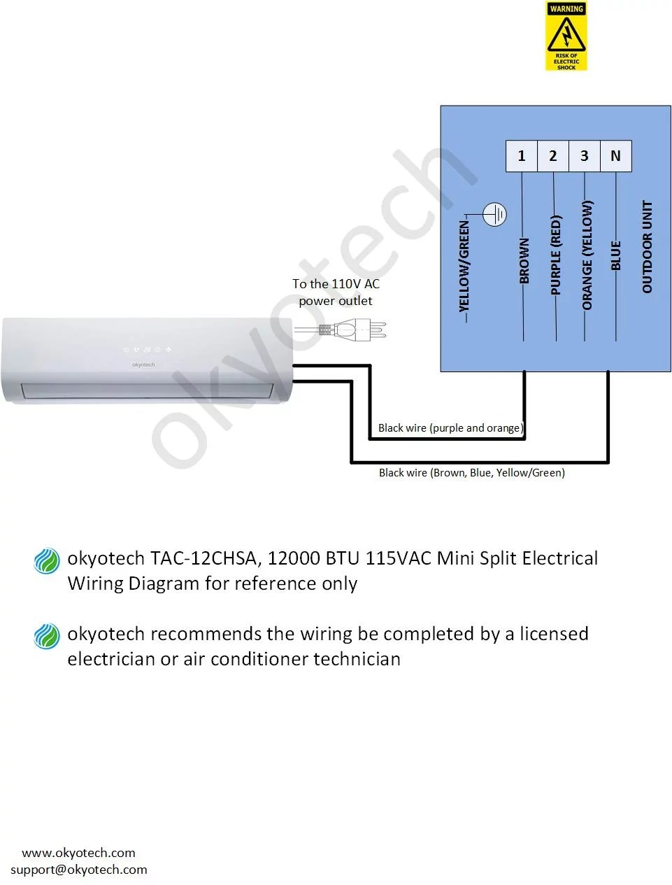 medium resolution of  the 18 000 btu electrical wiring below is only applicable with previous version of 18 000 btu okyotech mini split unit which has built in power plug on the