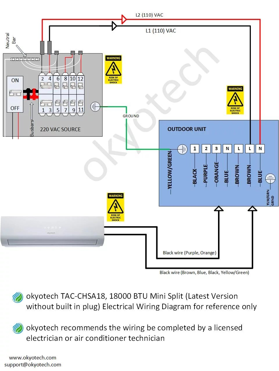 hight resolution of  the 24 000 btu electrical wiring diagram below is also applicable with the following okyotech models