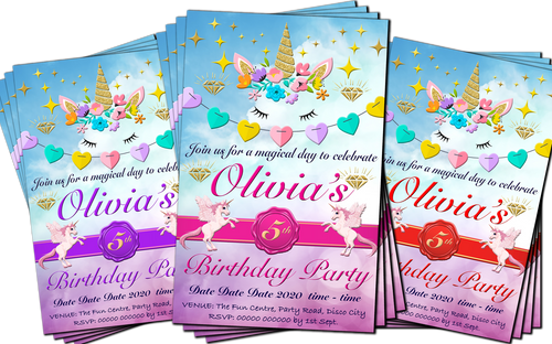 magical unicorn birthday party invitation pink purple or red grandwazoodesign