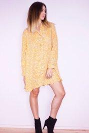 Robe chemise jaune à imprimé fleural