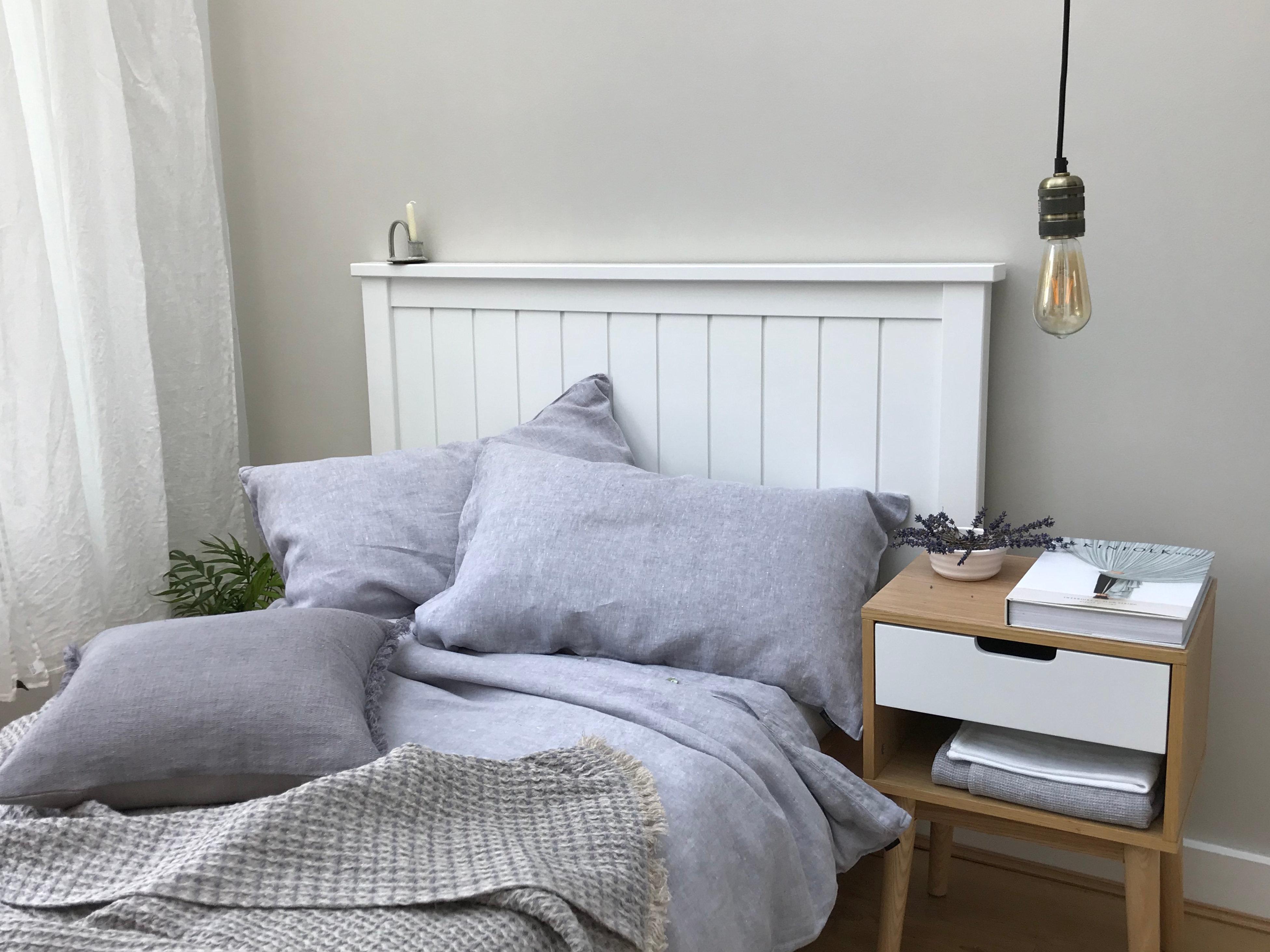 light grey melange linen bedding set truelinen4