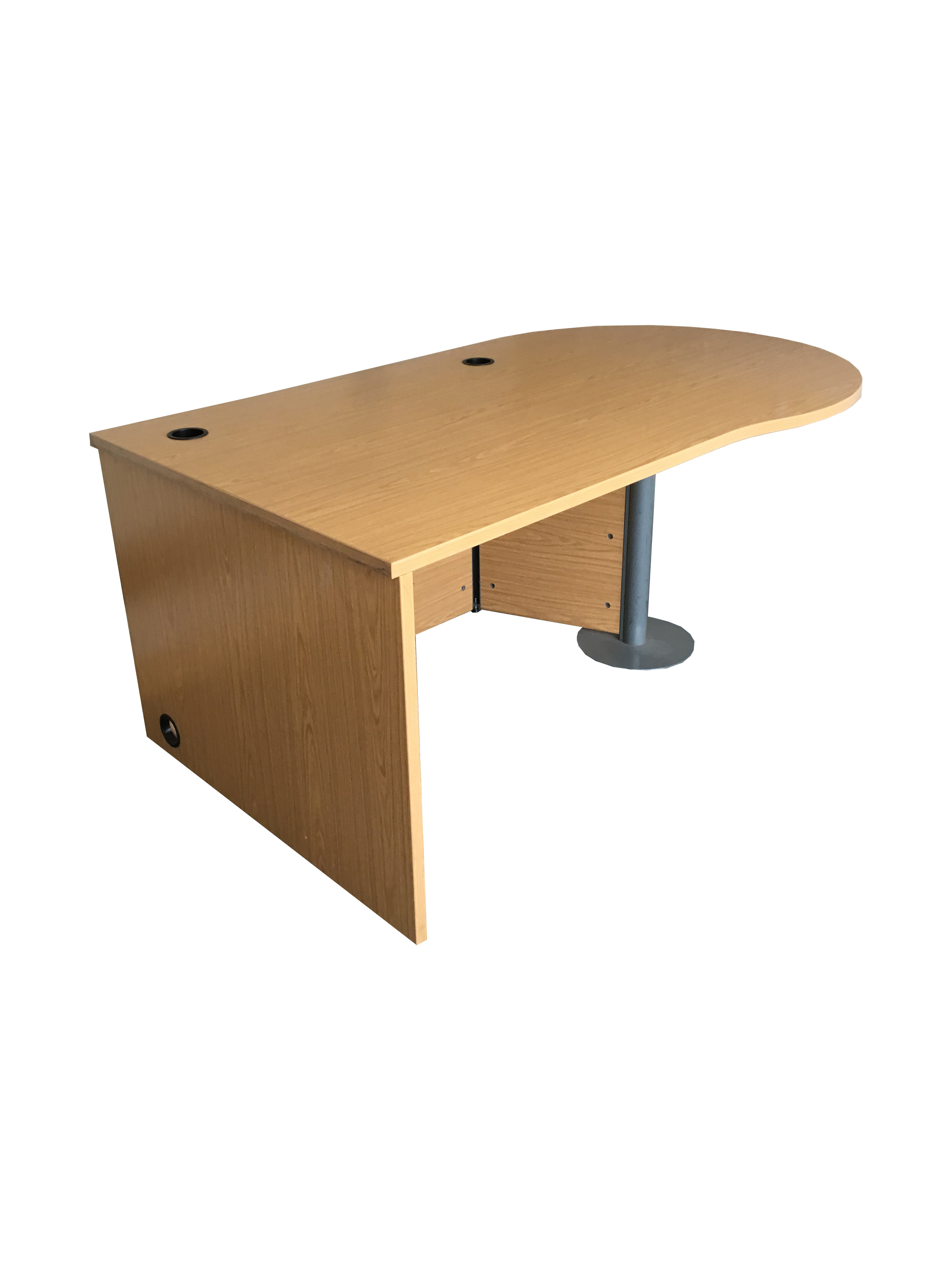 Large Office Desk With Spacious Round End In Beech Chrome Leg Stand Uofd