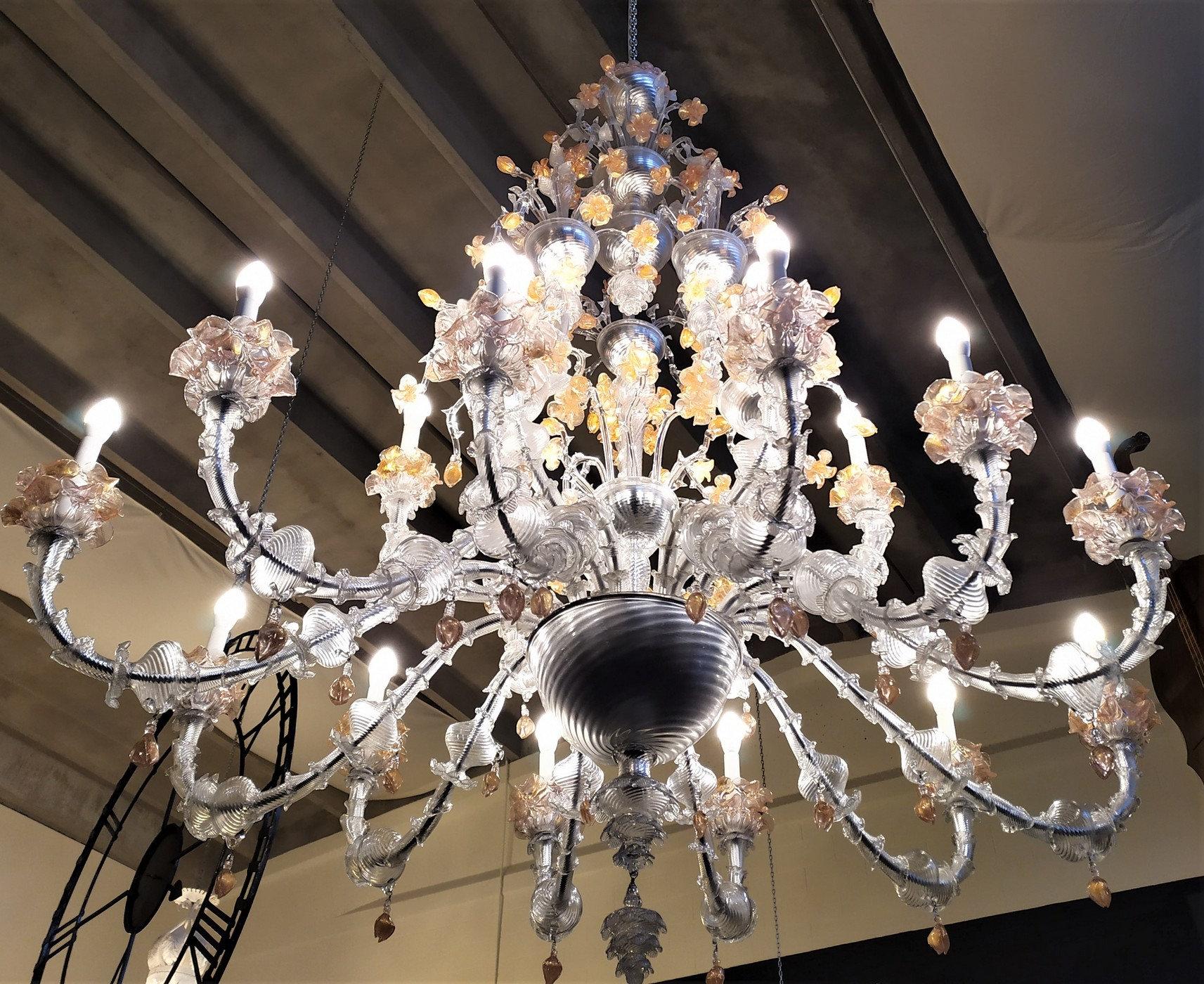 Acquista adesso i lampadari ca rezzonico made in italy certificati! Enorme Lampadario Murano Ca Rezzonico 18 Luci Casa Madre Milano