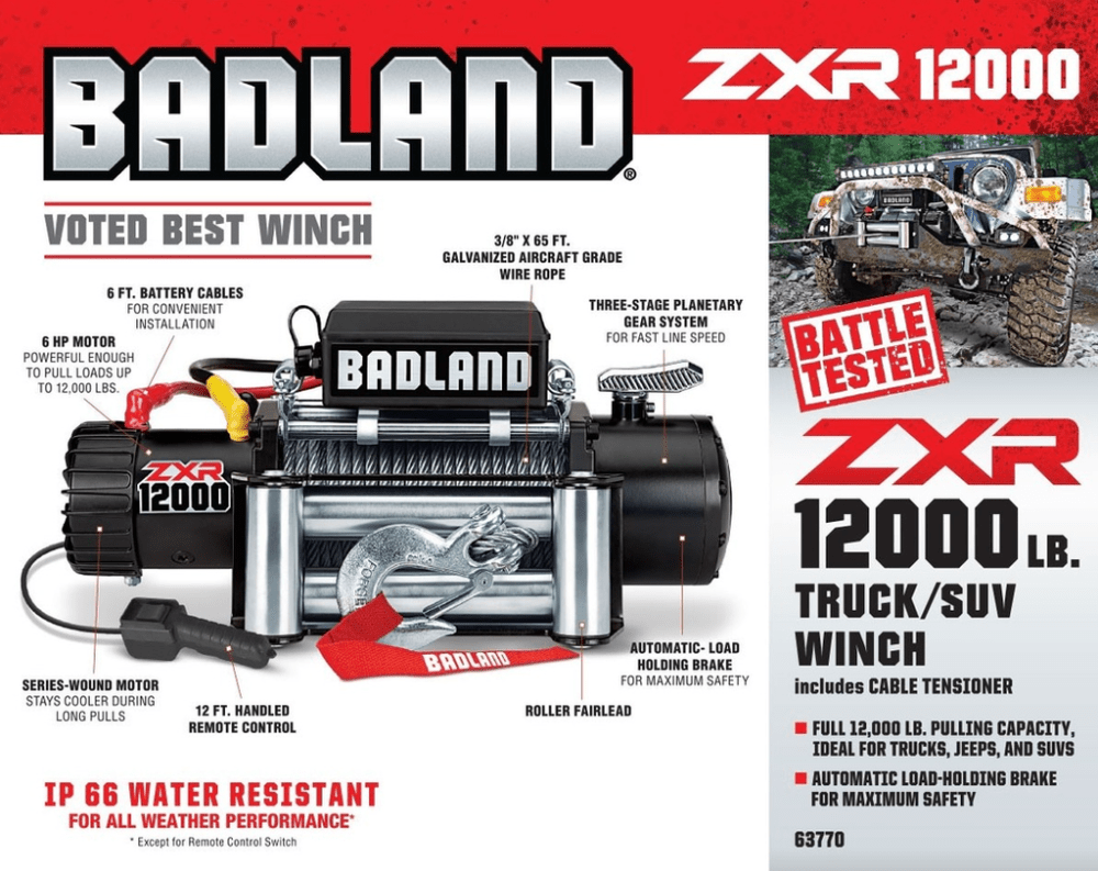 medium resolution of badland zxr 12000 lb capacity off road vehicle winch unboxing
