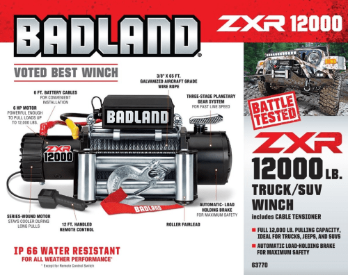 small resolution of badland zxr 12000 lb capacity off road vehicle winch unboxing