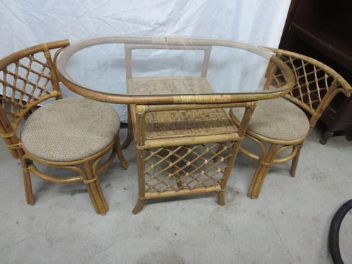 2 chairs and table rattan restaurant chair repair small oval w measures 39 1 x 21 29 tall are in great condition however i would replace the fabric