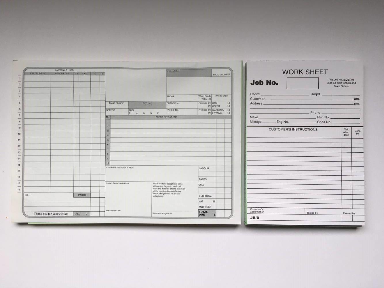 Garage Repair Invoice Amp Garage Workshop Job Cards