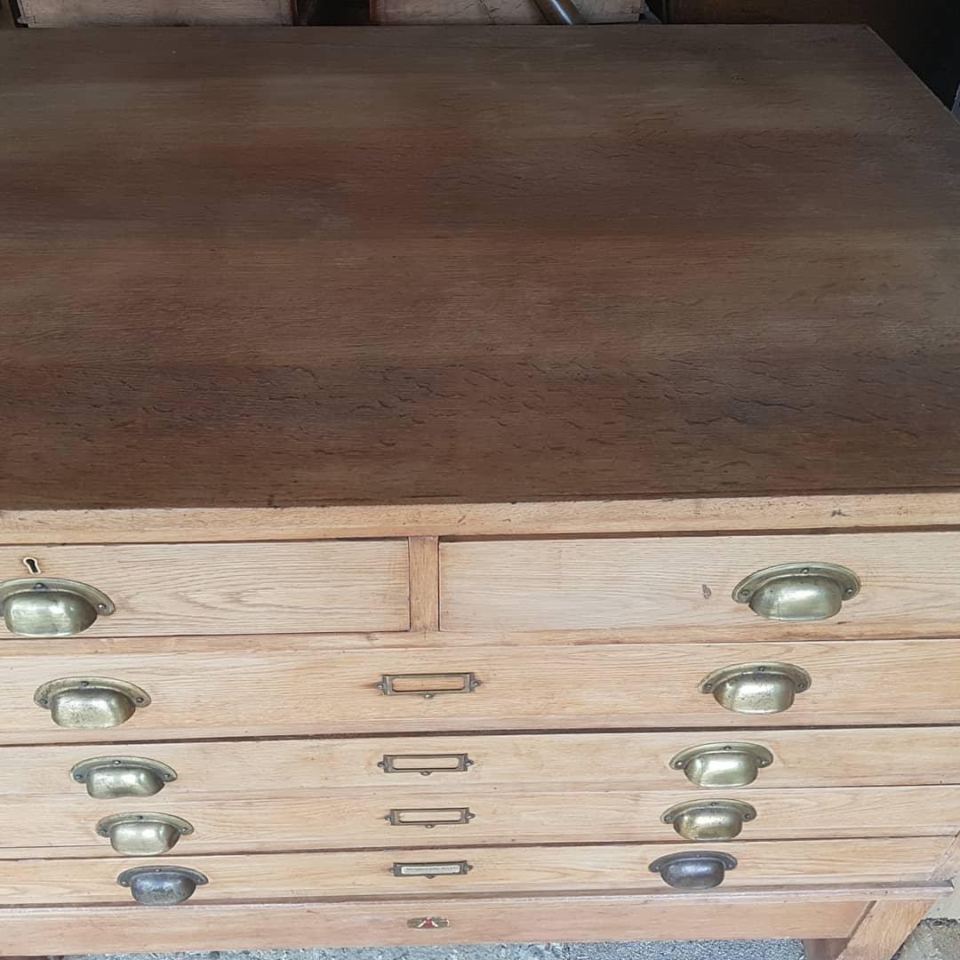 Sold Stunning Mid Century Oak Plan Chest