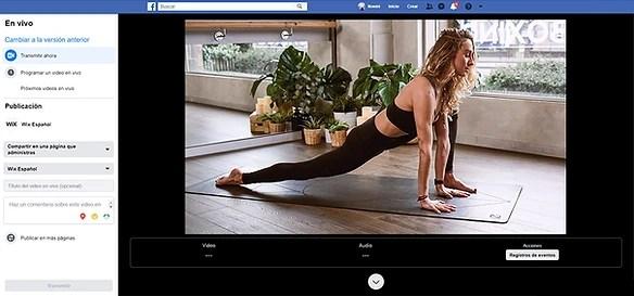 Imagen de panel de control de videos en vivo de Facebook