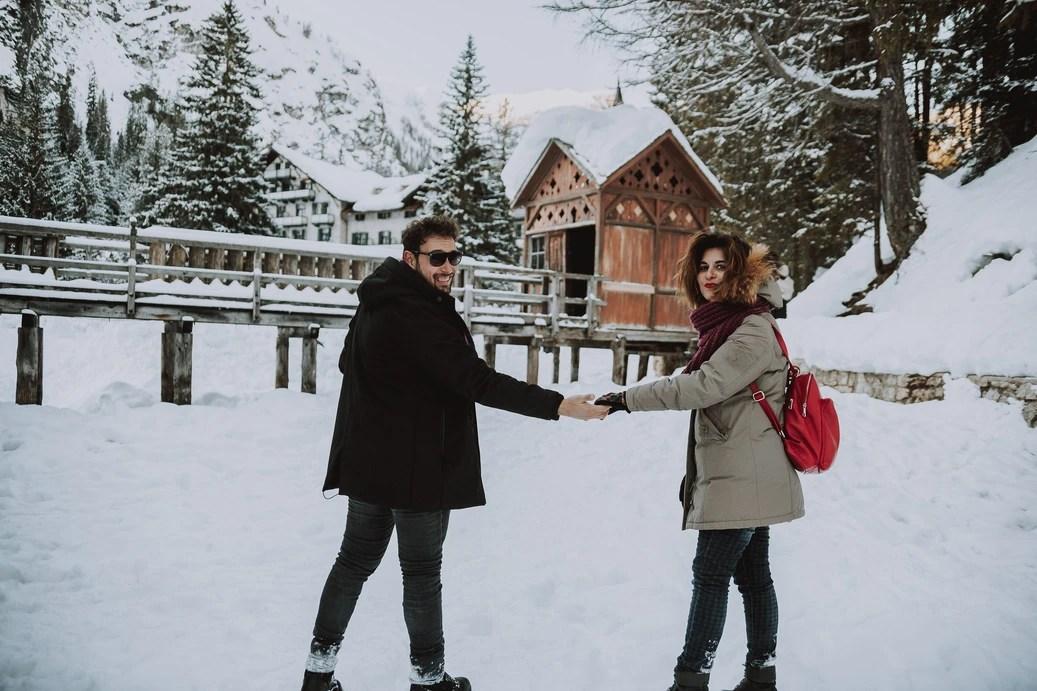 Winter Wonderland Engagement Photoshoot - Lago di Braies - The Dolomites