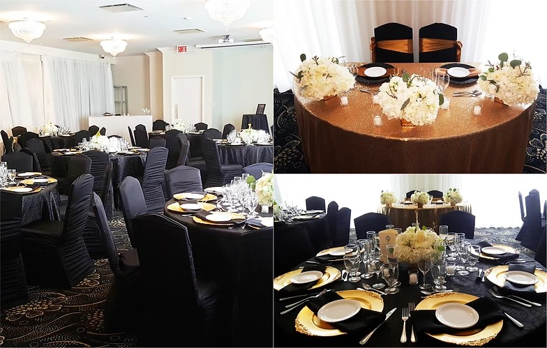 wedding chair covers montreal reclining chairs modern glam location decor is your decoration rental black gold