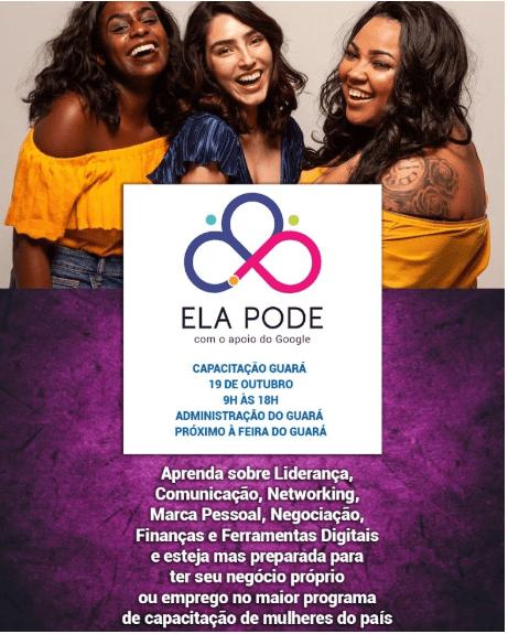 """Programa De Capacitação Para Mulheres """"Ela Pode"""", Acontece Em Outubro No Guará"""