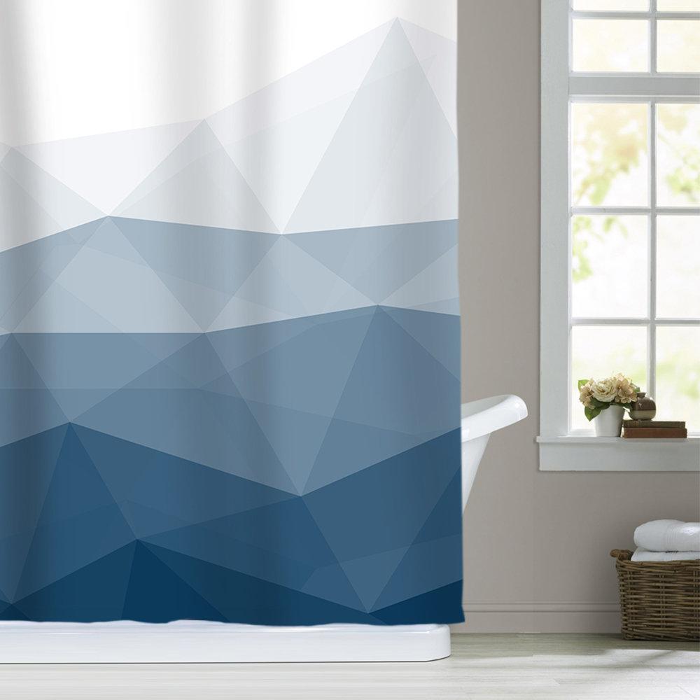 ombre blue fabric shower curtains for bathroom decor sunlit