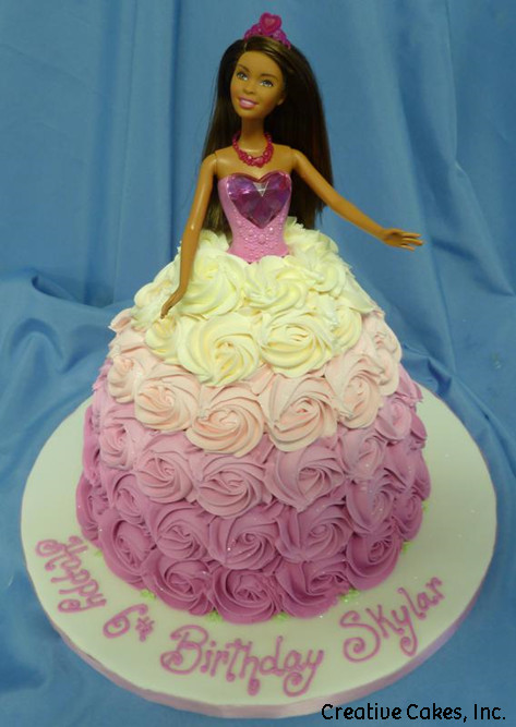Princesses 26 Pink Rosettes Barbie Doll Birthday Cake