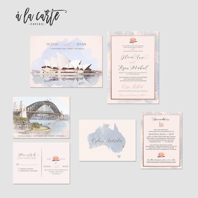 Sydney Australia Ilrated Destination Wedding Invitation