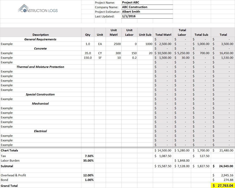 Construction Bid Estimate Template For Excel