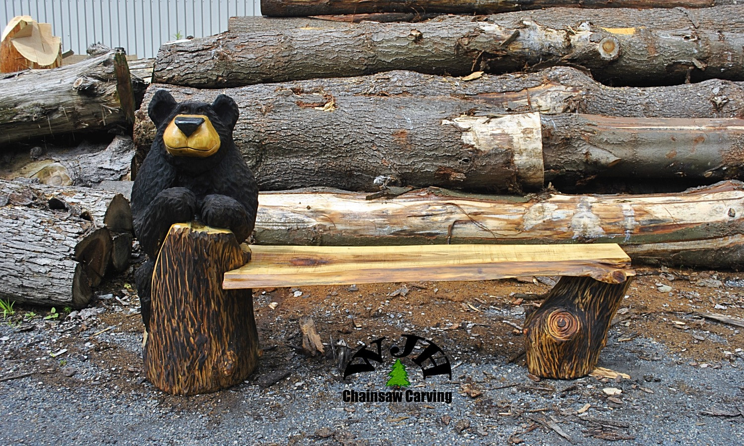 single bear bench front