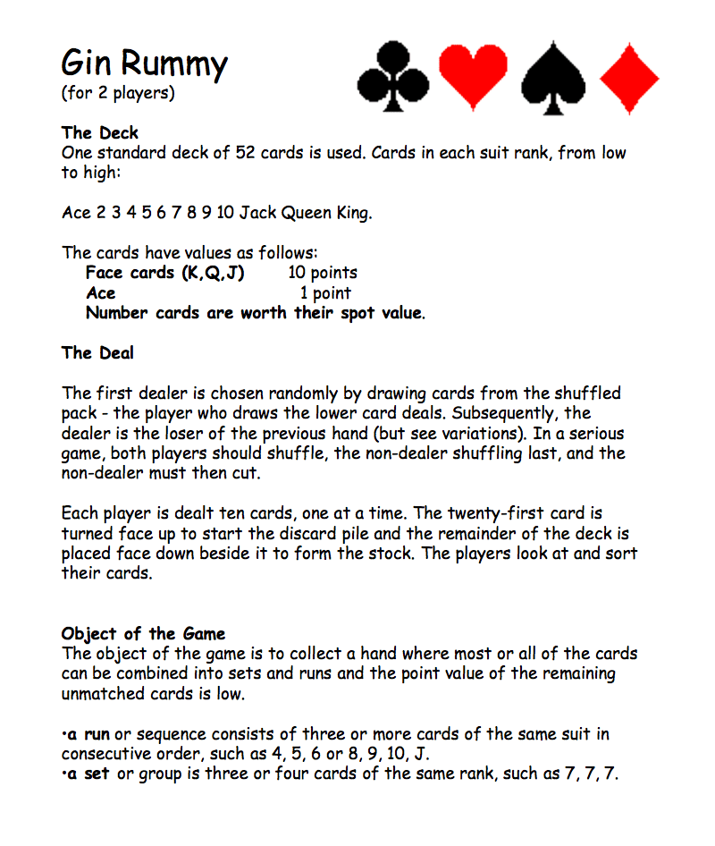Card Game Gin Rummy Rules Cardjdi