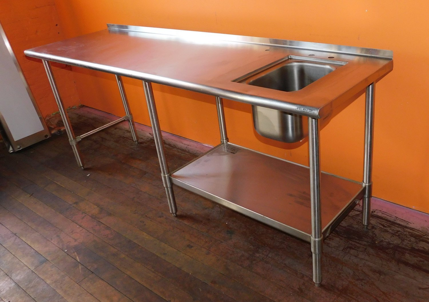 84 x 24 stainless steel prep work table with sink faucet trec