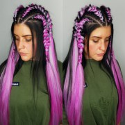 fuschia braiding extensions