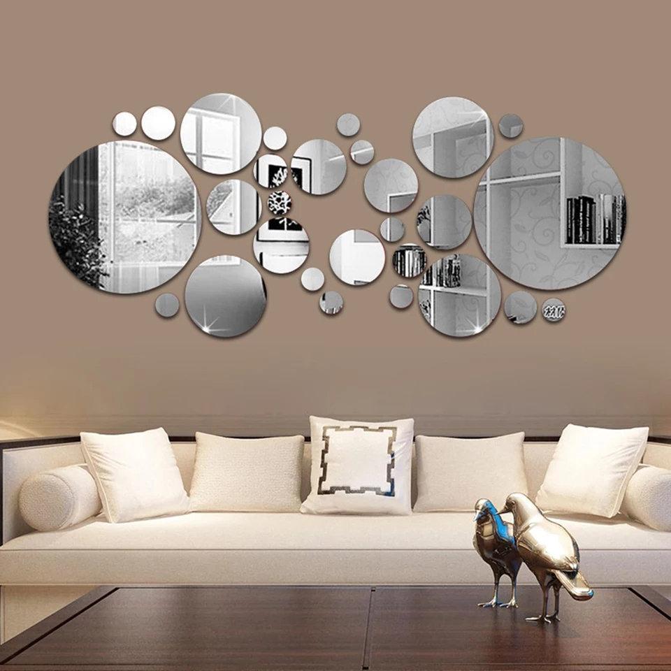 26 Pieces 3d Miroir Autocollant Mural Rond Miroir Bricolage Tv Fond Salle De Ba Senvipshop