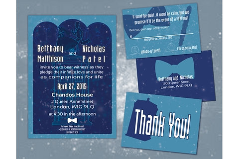 Doctor Who Wedding Invitation Suite Diy Digital Printable Invitations