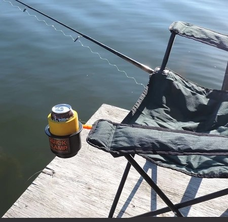 fishing chair clamps hans wegner rocking quick clamp cup holder the onto any round support such as your favorite portable fish house or tent pole