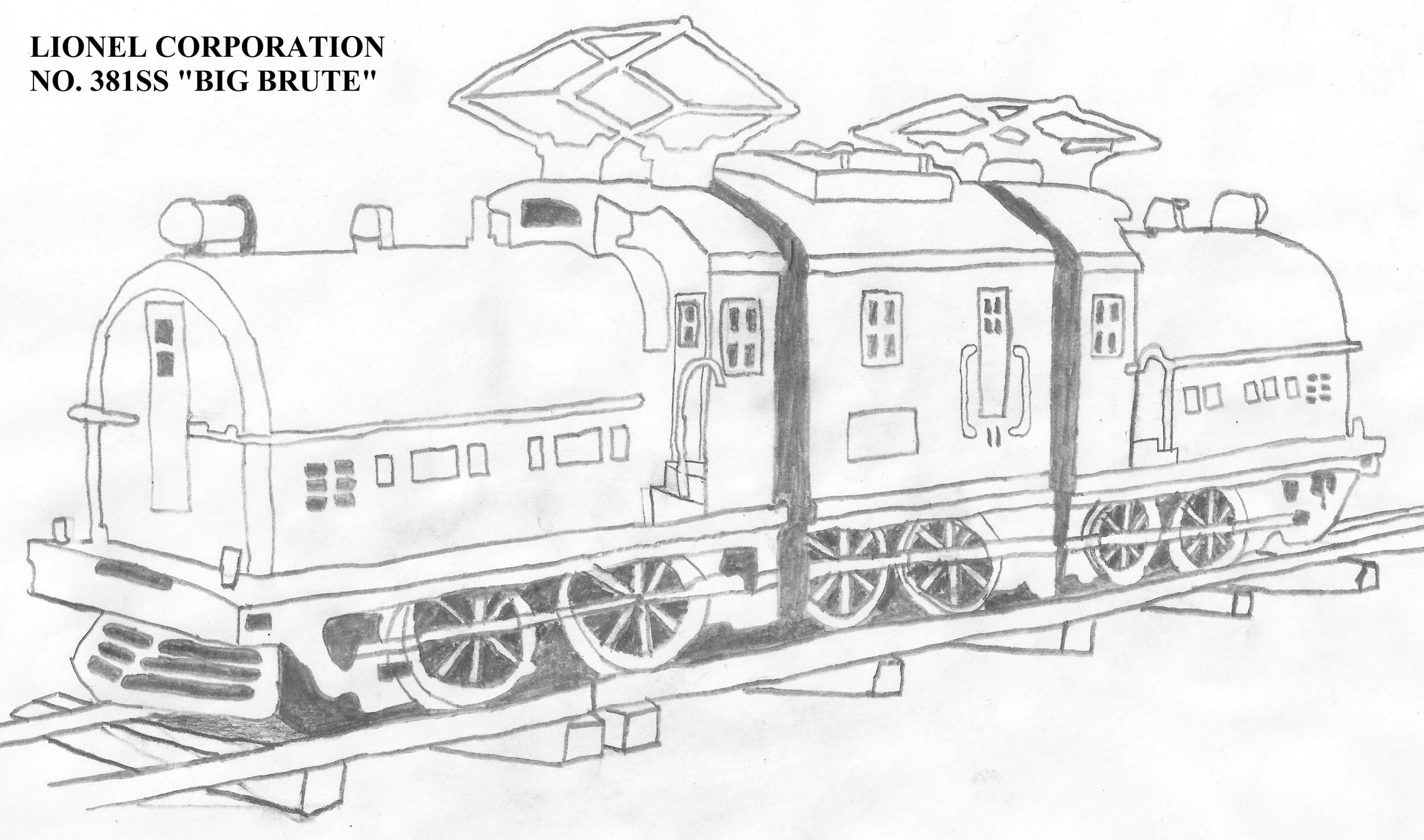 "My Drawing of the Lionel Standard Gauge ""Big Brute"""