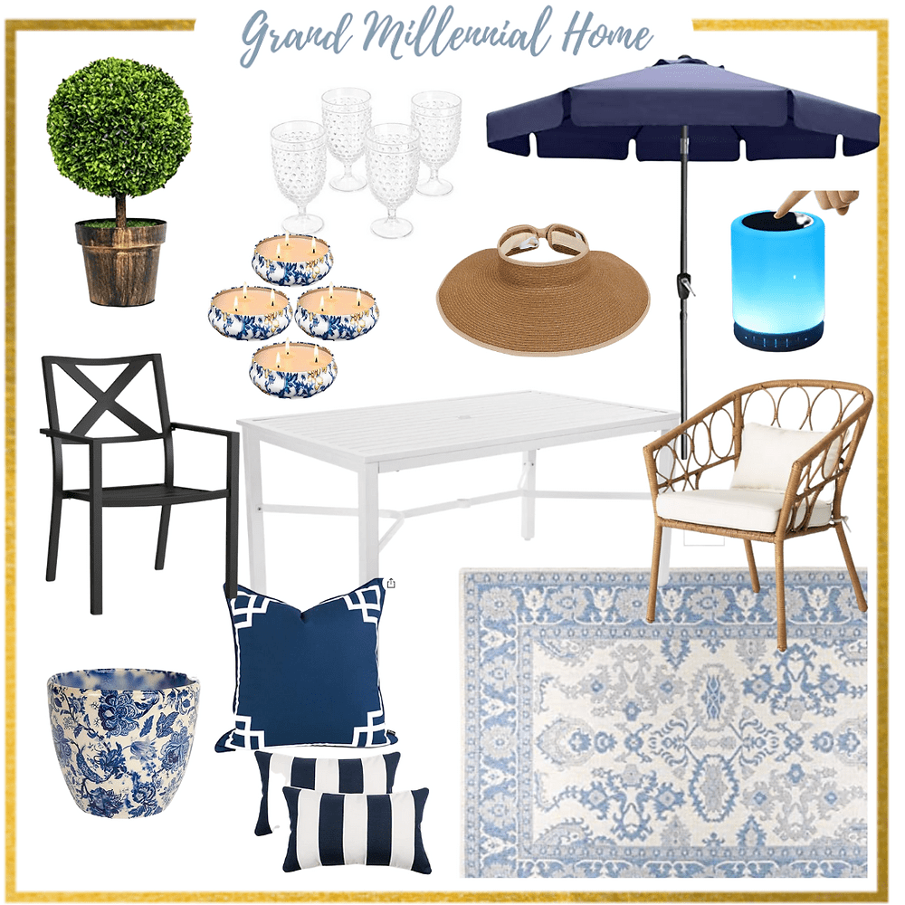 outdoor blue and white patio furniture