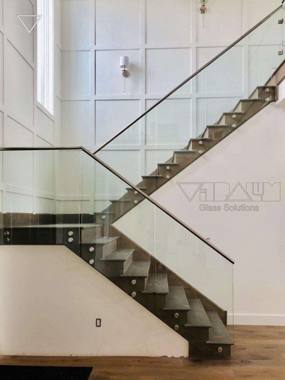 Frameless Glass Railings Orlando Vitralum Glass Solutions   Glass Panel Stair Railing   Toughened   Square   Framed Glass   Staircase   Banister