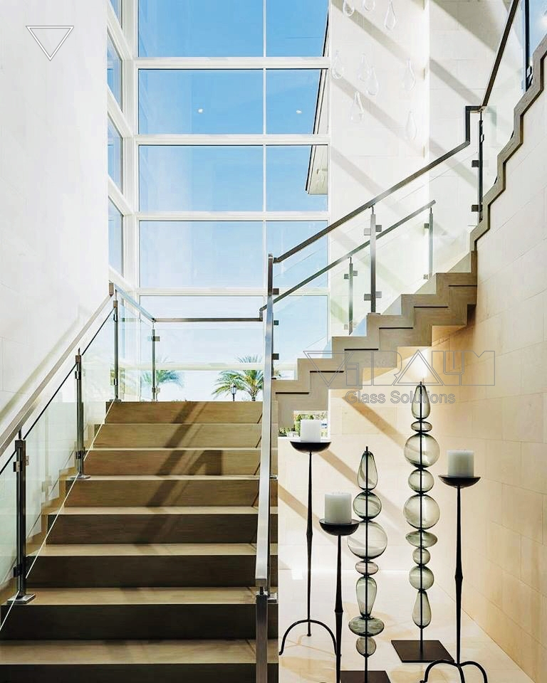 Frameless Glass Railings Orlando Vitralum Glass Solutions   Glass Stair Rails And Banisters   Photo Gallery   Perspex   Thick Solid Oak Stair   Mirror   Stair Price