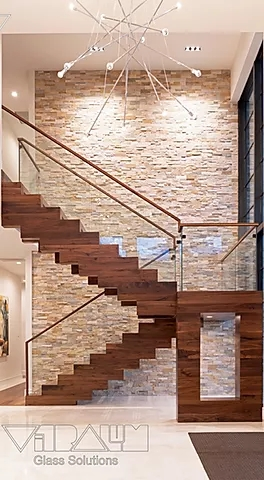 Frameless Glass Railings Orlando Vitralum Glass Solutions   Frameless Glass Stair Railing   Metal   Contemporary   Seamless Glass   Glass U Shape   Detail