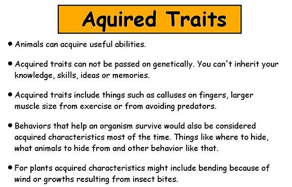 Animals Trait Acquarired