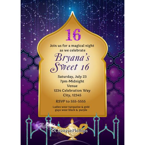 Arabian Nights Moroccan Aladdin Birthday Party Invitations