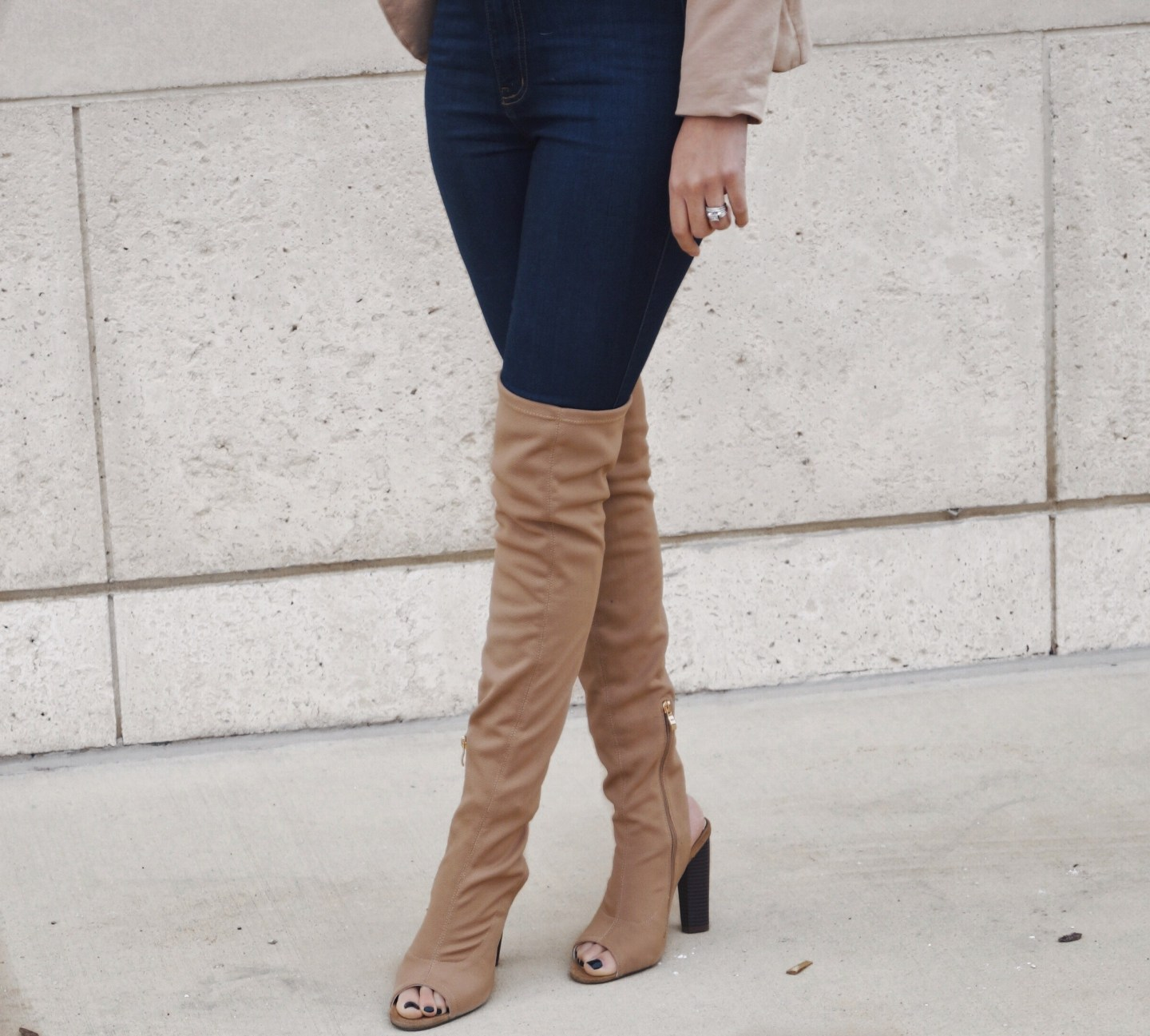 Thigh High Boots and Blazer Crop Top Fashion and Style Blog OOTD fashionnikki.com