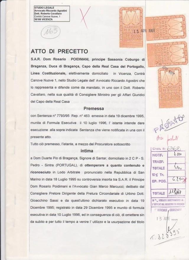 ATTO DI PRECETTO CON SENTENZA - página  1.