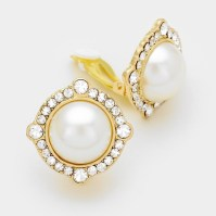 Ivory Pearl Rhinestone Framed Clip Earrings, Gold