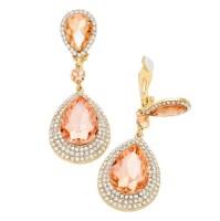 Peach Crystal Double Teardrop Clip Earrings   Clip-on ...