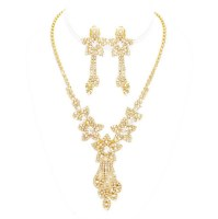 Stellar Clip On Earring Necklace Set, Gold