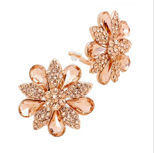 Rose Gold Daisy Clip On Earrings