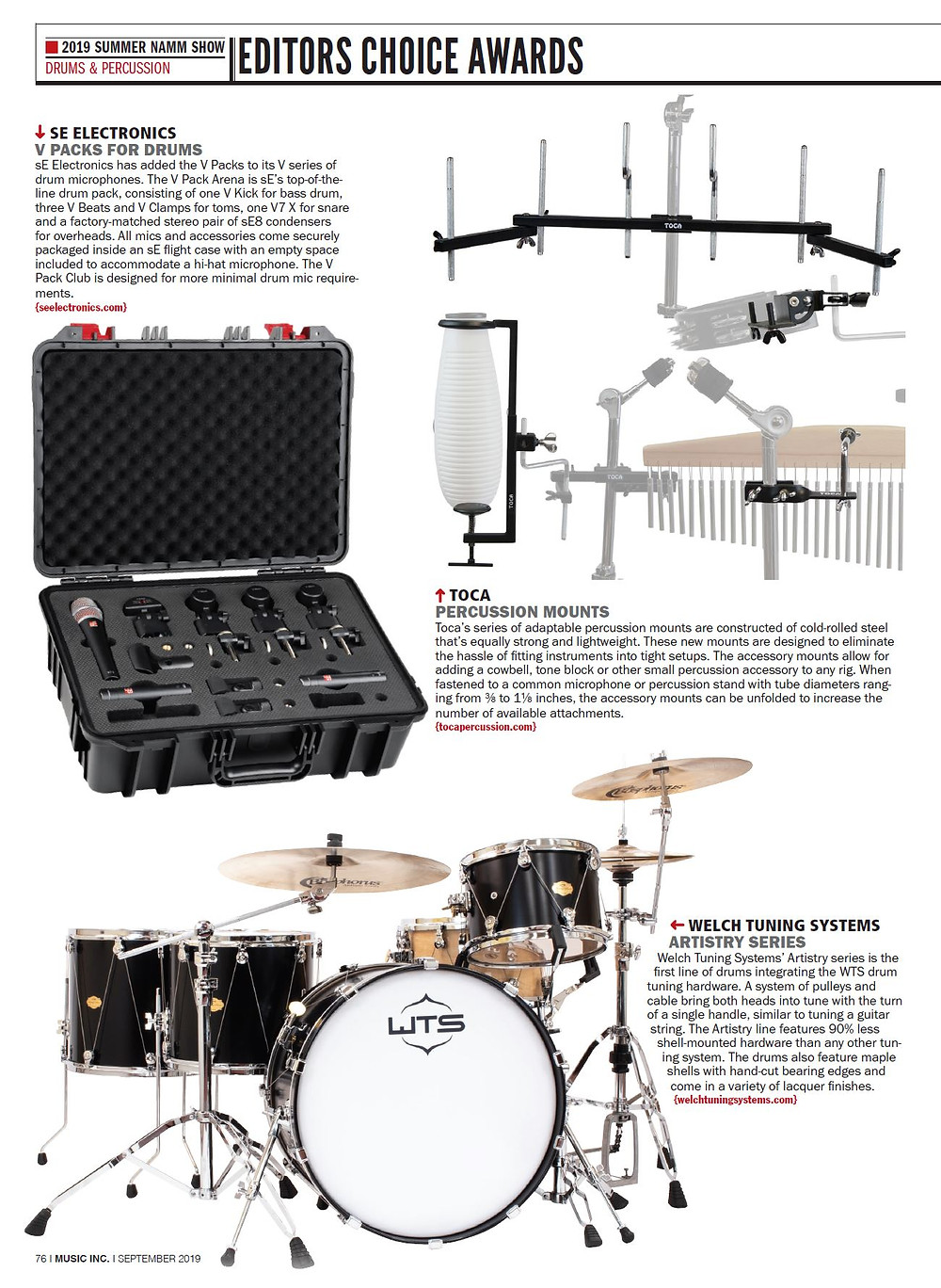 Welch Tuning Systems Receives Music Inc. Editors Choice