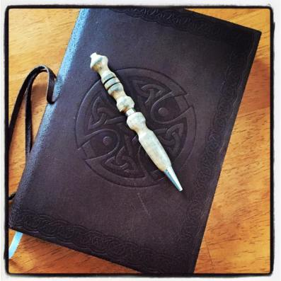 love letters in a brown leather journal celtic knots