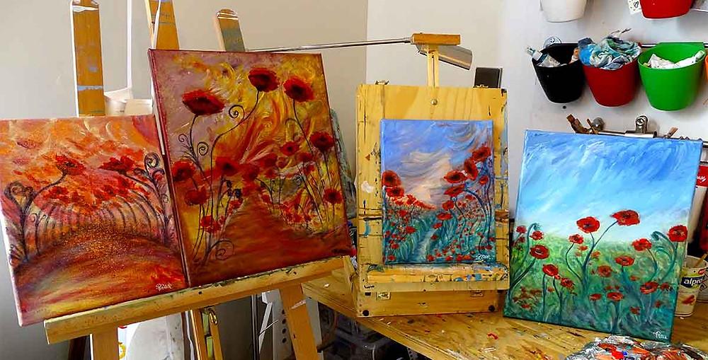 tableau fleurs peinture fleurs