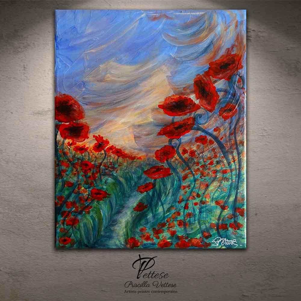 tableau fleurs original coquelicot 24x30cm